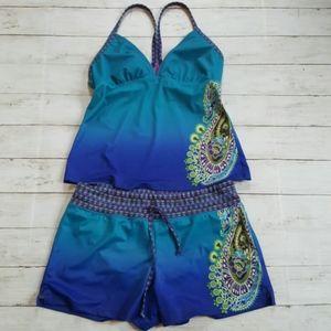 Athleta tankini boy short swim set dip dye ombre